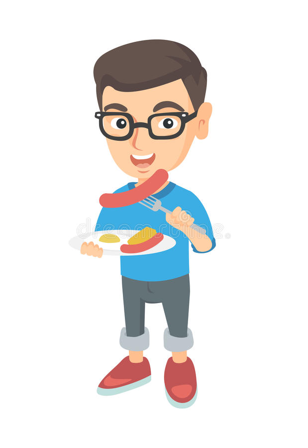 Boy eating sausage and fried egg for breakfast. Little caucasian boy eating sausage and fried egg for breakfast. Young smiling boy holding fork and plate with stock illustration