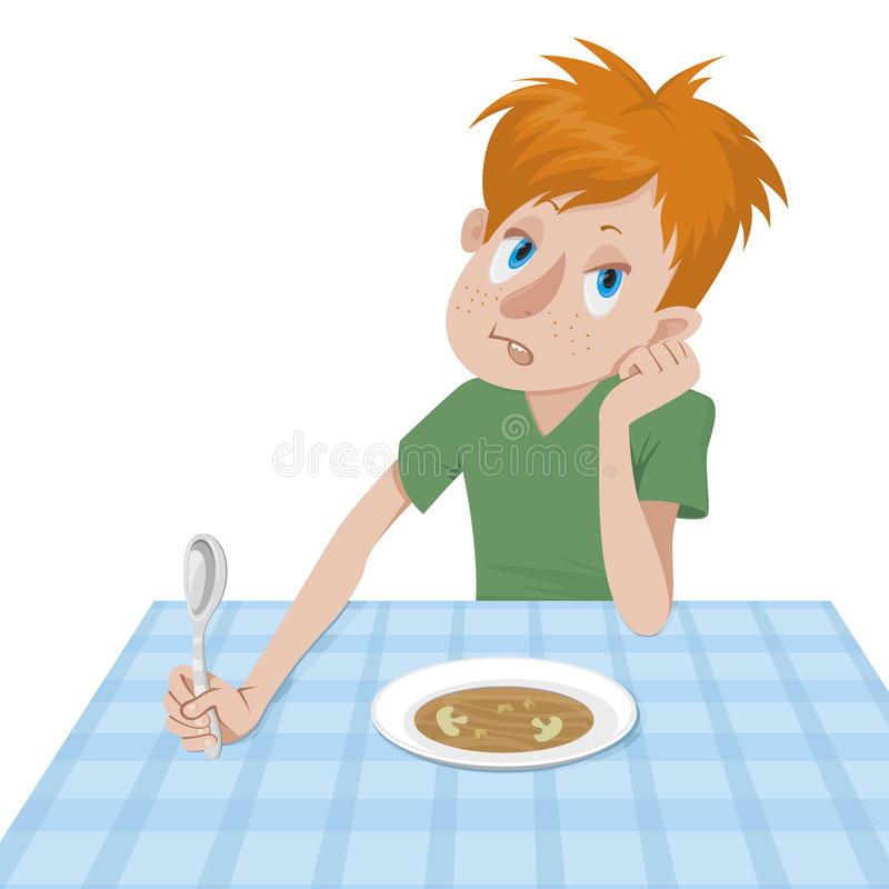 Boy eating at a table royalty free illustration