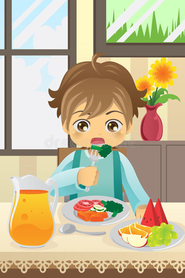 Boy eating vegetables stock illustration
