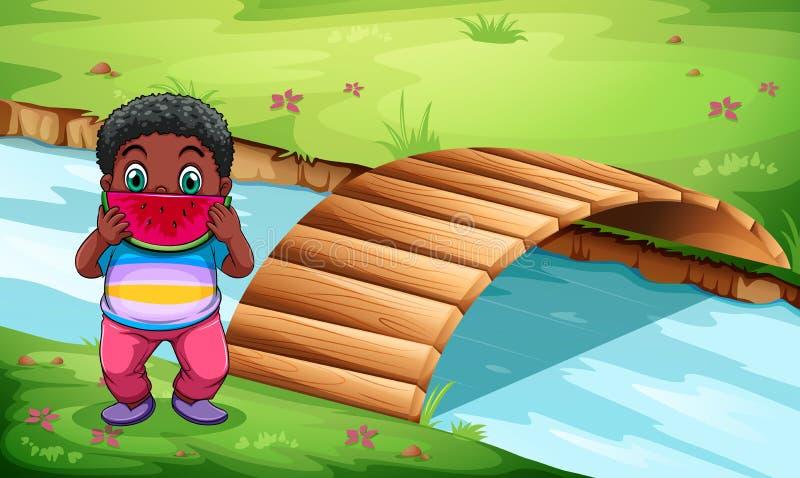 A boy eating watermelon near the wooden bridge vector illustration