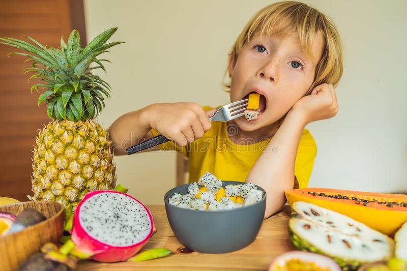 Boy eats fruit. Healthy food for children. Child eating healthy snack. Vegetarian nutrition for kids. Vitamins for stock image