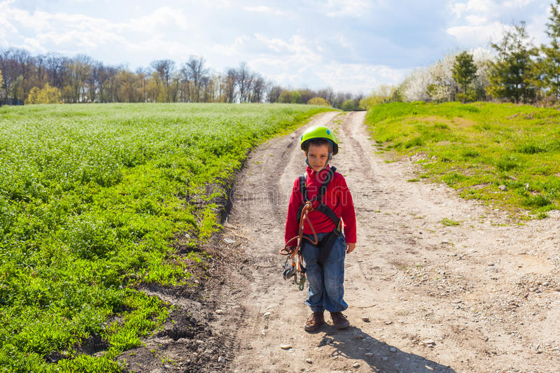 Boy on the edge of a forest royalty free stock photos