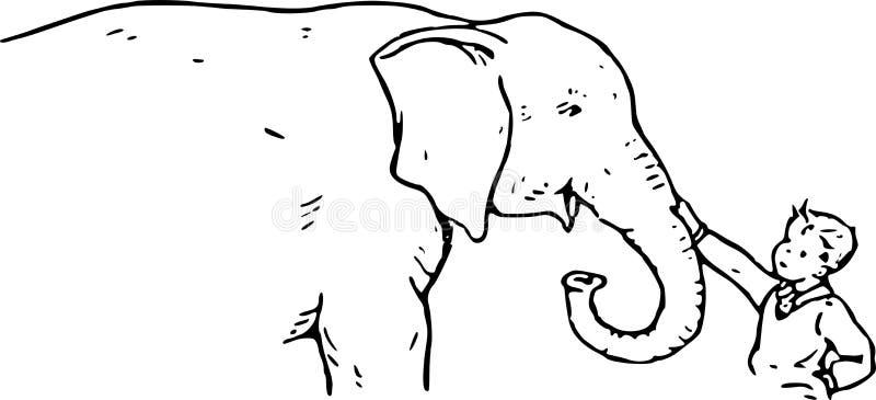 Hand Drawn Boy And Elephant Stock Image
