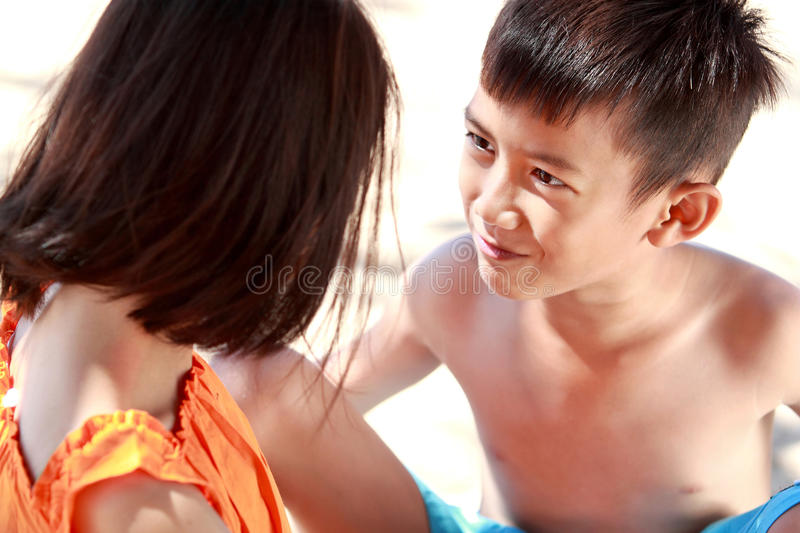 Download Boy embrace her sister stock photo. Image of blue, friend - 26505160