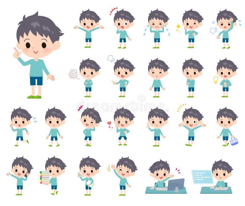 Boy_emotion azul de la ropa libre illustration