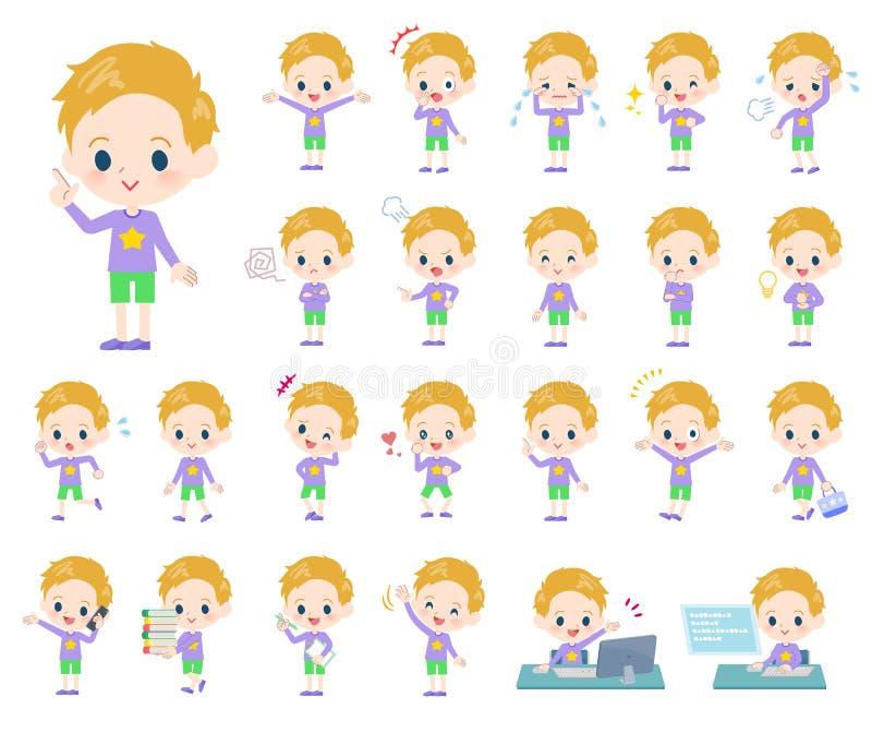 Boy_emotion del pelo rubio stock de ilustración