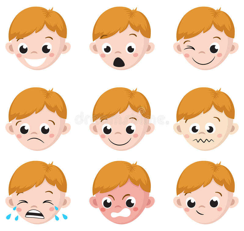 Free Boy Emotion Faces Cartoon. Isolated Set Of Male Avatar Expressions Royalty Free Stock Photo - 79310075