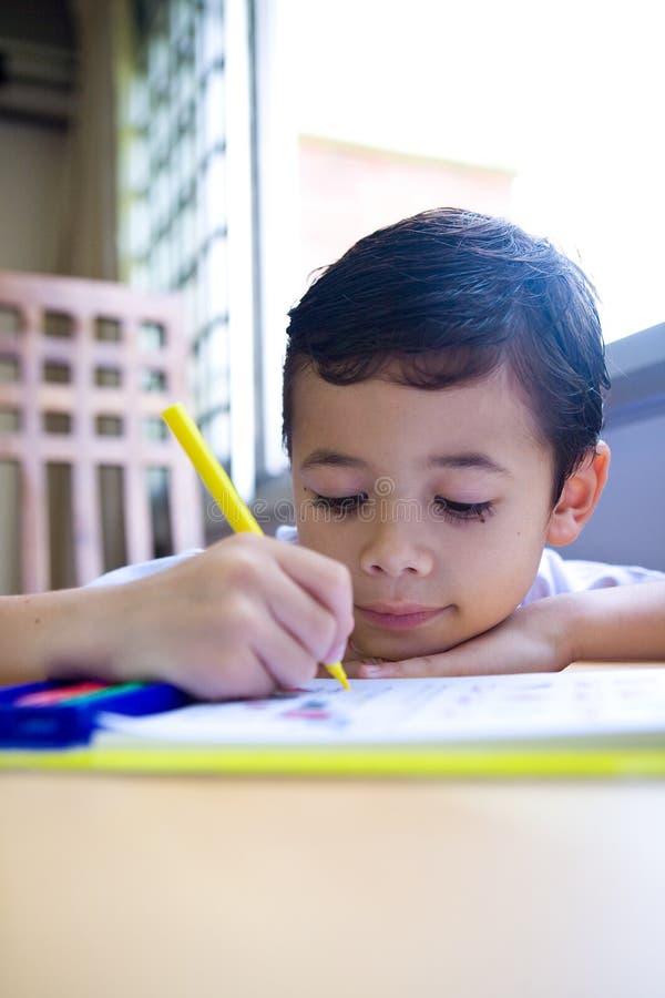 Boy Engross Doing His Writing Homework Royalty Free Stock Photo