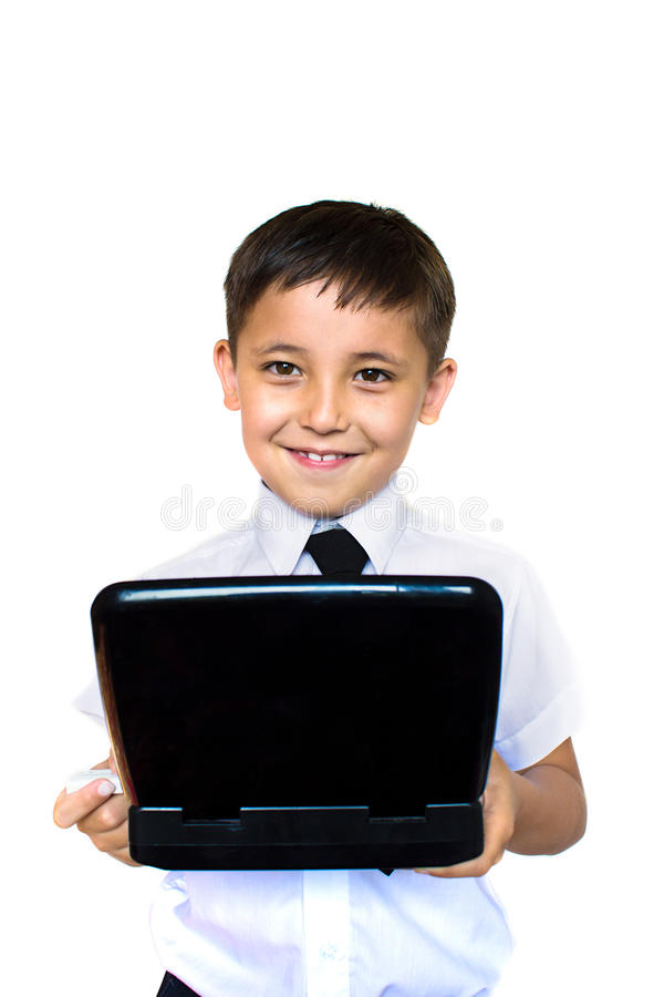 Download Boy Enthusiastically Looking At Laptop Stock Image - Image: 25834499