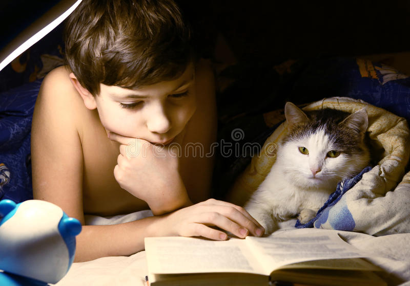 Boy evening read book with cat. Preteen handsome boy evening read book with cat in the bed before sleep stock images