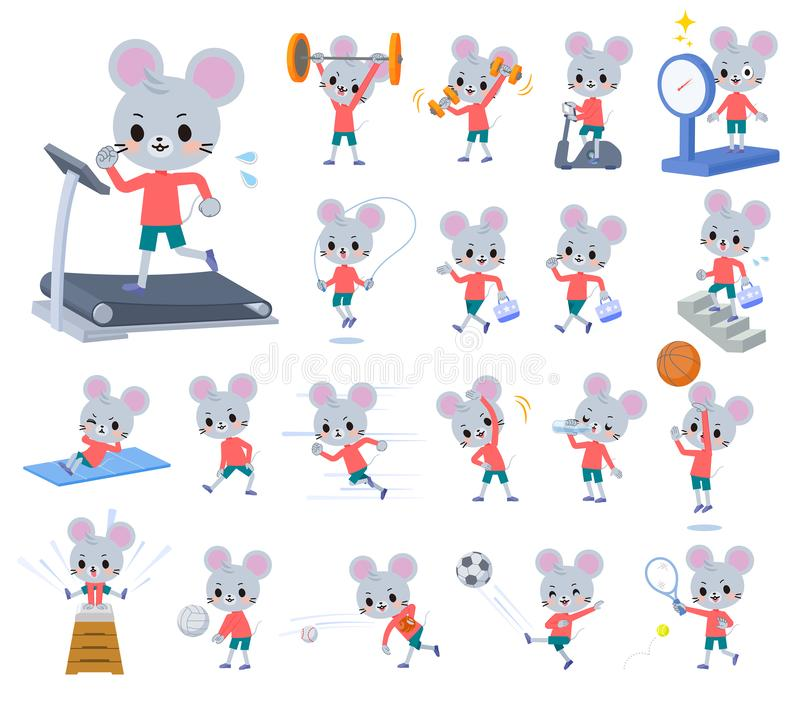 Boy_exercise animal do rato ilustração do vetor