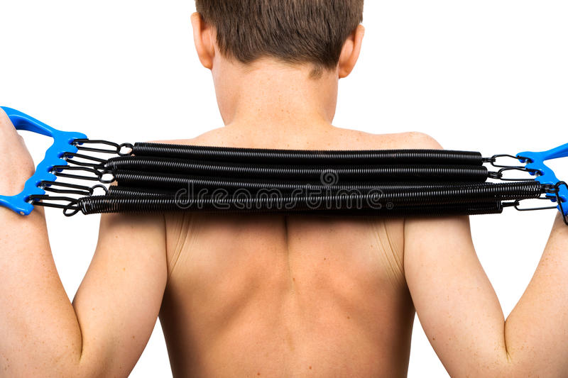 Download Boy with the expander stock image. Image of exercise - 10283523