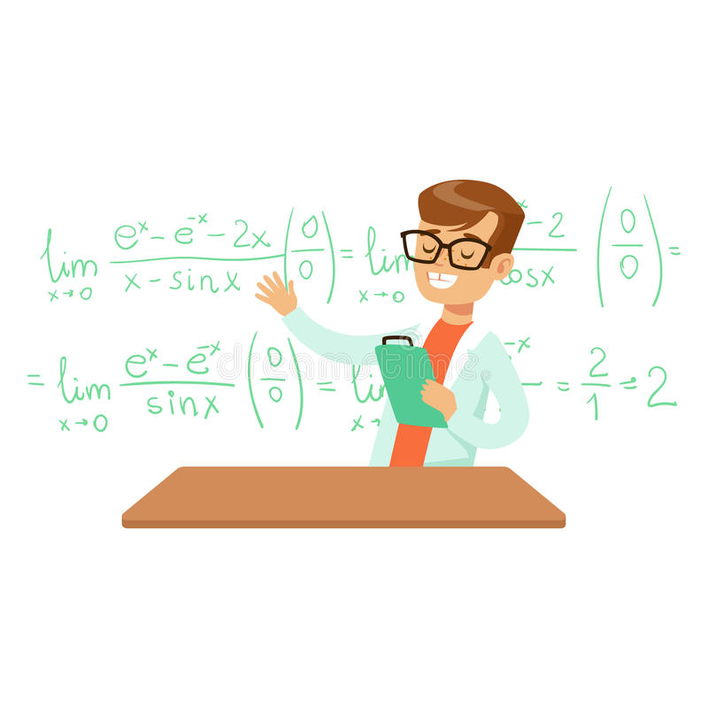 Boy Explaining Mathematic Formula, Kid Doing Math Science Research Dreaming Of Becoming Professional Scientist In The. Future. Part Of Series With Children royalty free illustration