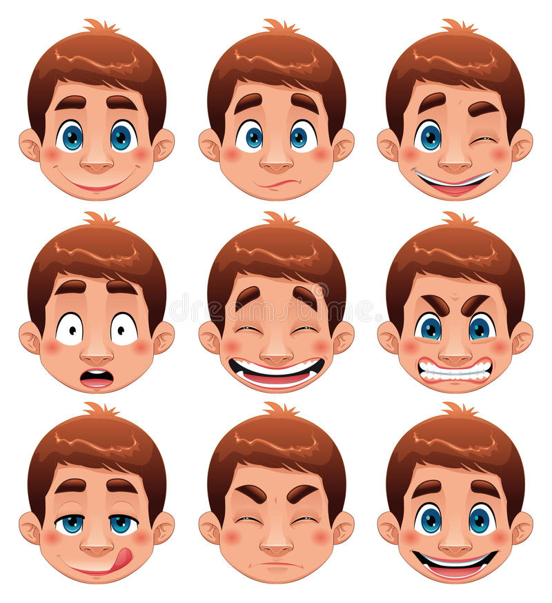 Boy Expressions. royalty free illustration