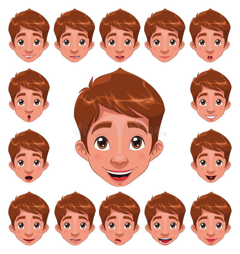 Download Boy Expressions With Lip Sync. Stock Vector - Illustration of character, happy: 16887370