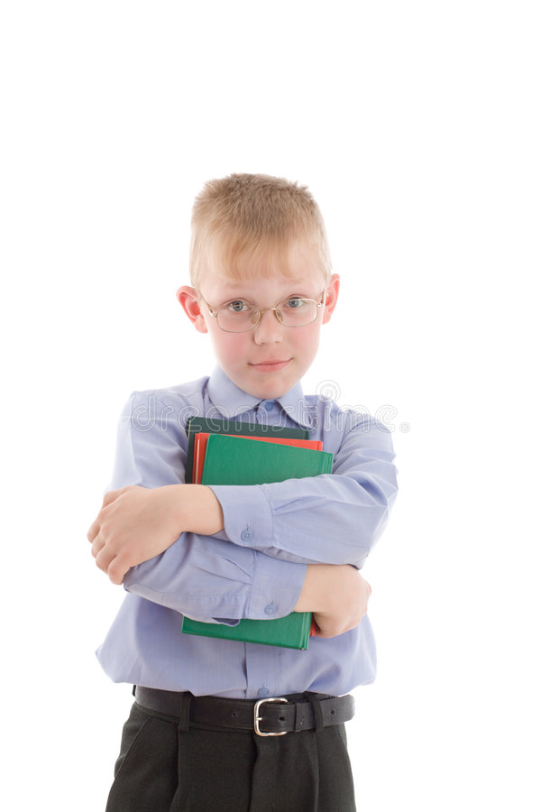 Download Boy In Eyeglasses Embrace Three Interesting Books Stock Image - Image: 5329675