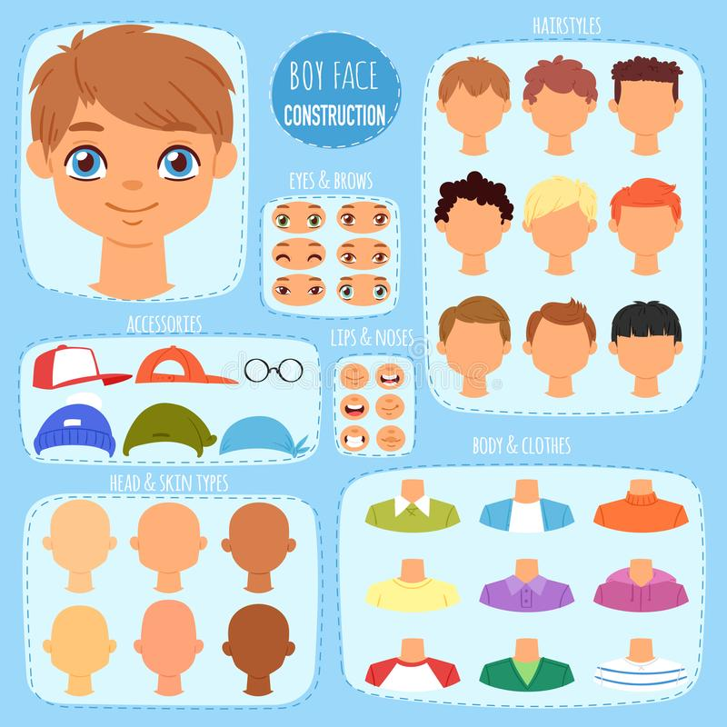 Boy face constructor vector kids character and guy avatar creation with head lips eyes illustration set of man-child royalty free illustration
