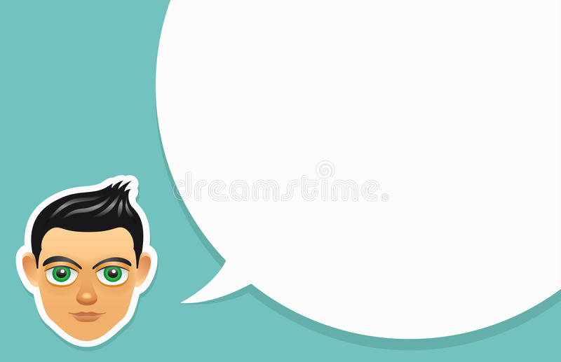 Boy face with speech bubble stock illustration
