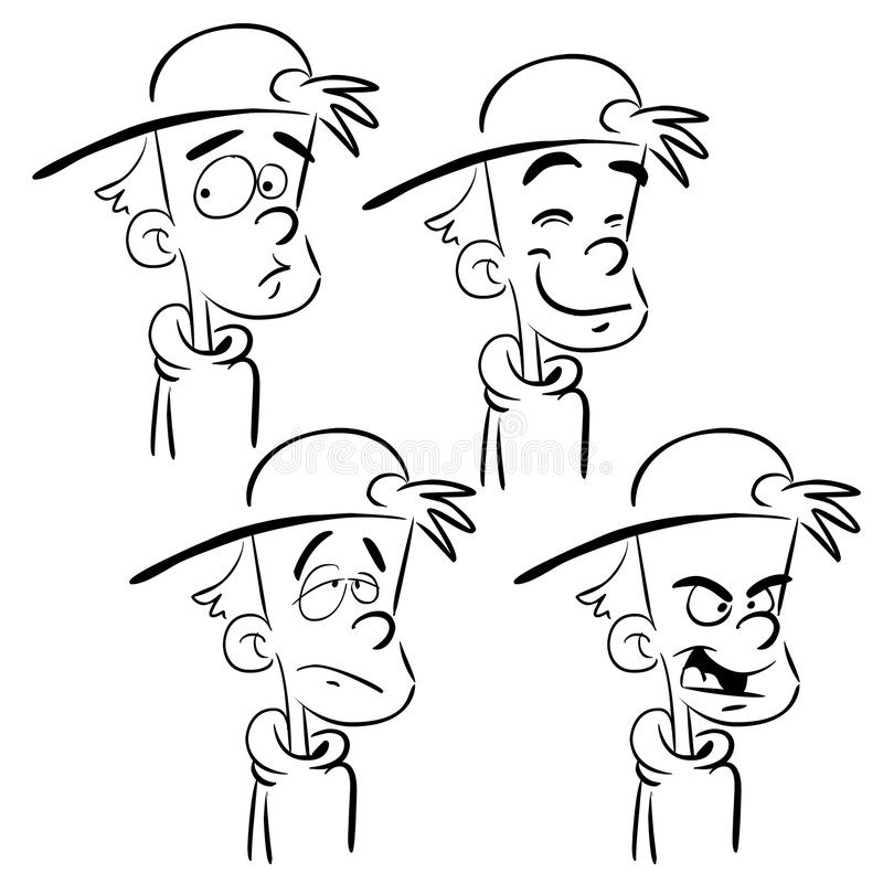 Boy faces. Boy with four facial and emotional expressions royalty free illustration