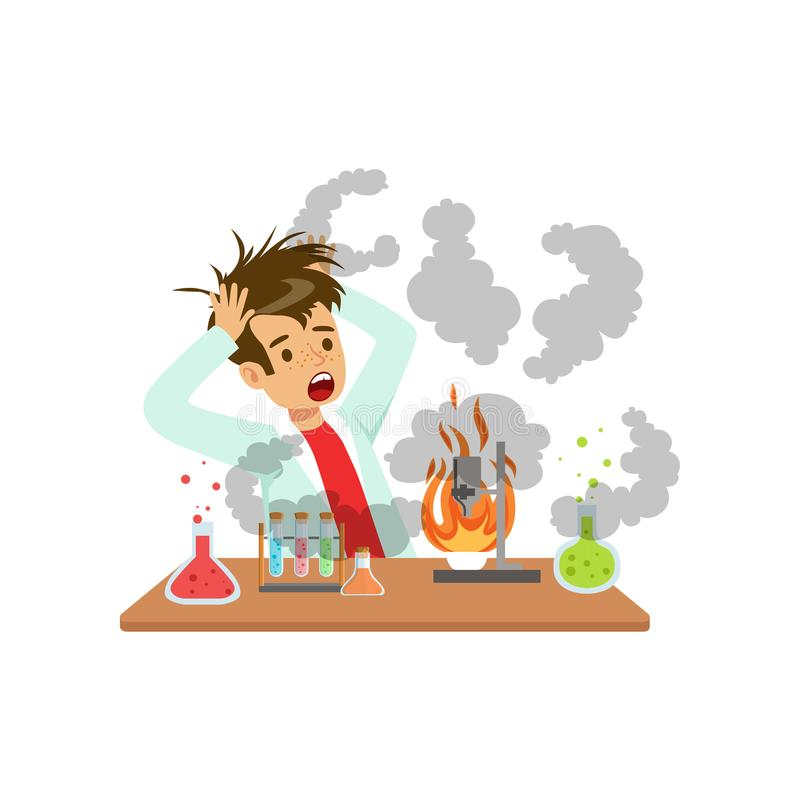 Boy after a failed chemical experiment, mixture explosion, scientist experimenting in science chemistry laboratory vector illustration