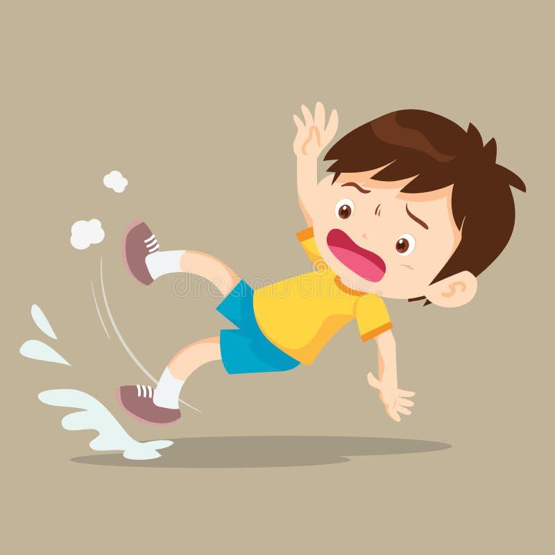 Boy falling on wet floor royalty free illustration
