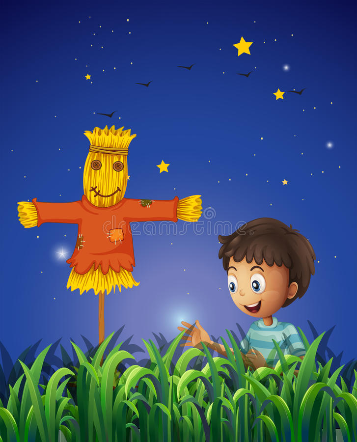 A Boy At The Farm With A Scarecrow Royalty Free Stock Photo