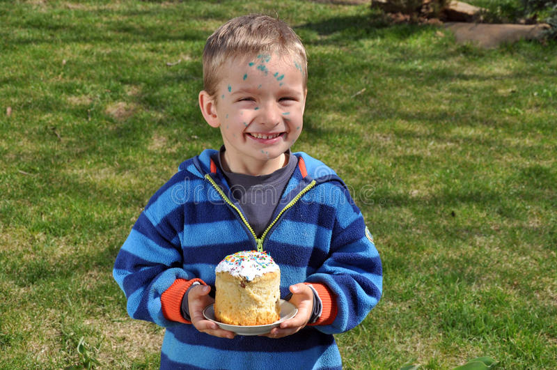 The boy fell ill with chickenpox at Easter royalty free stock image