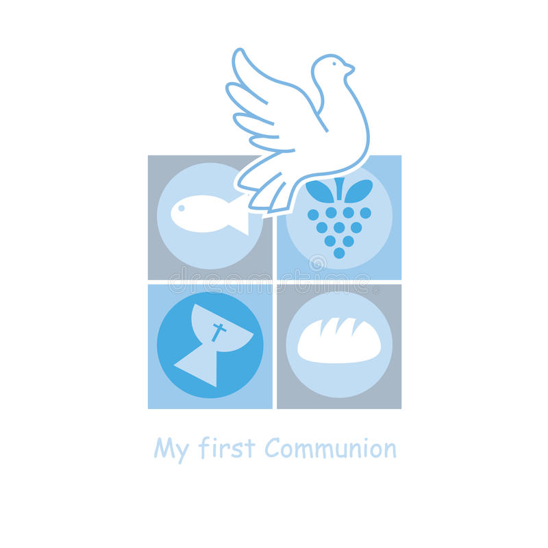 Boy First Communion card. Religion icons stock illustration