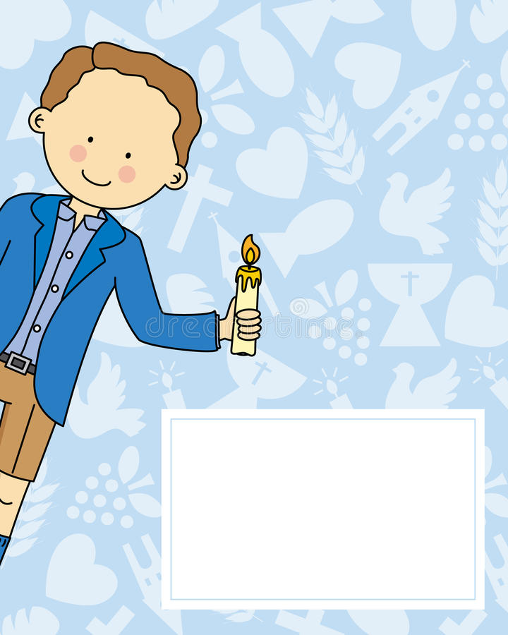 Boy first Communion card. Space for text vector illustration