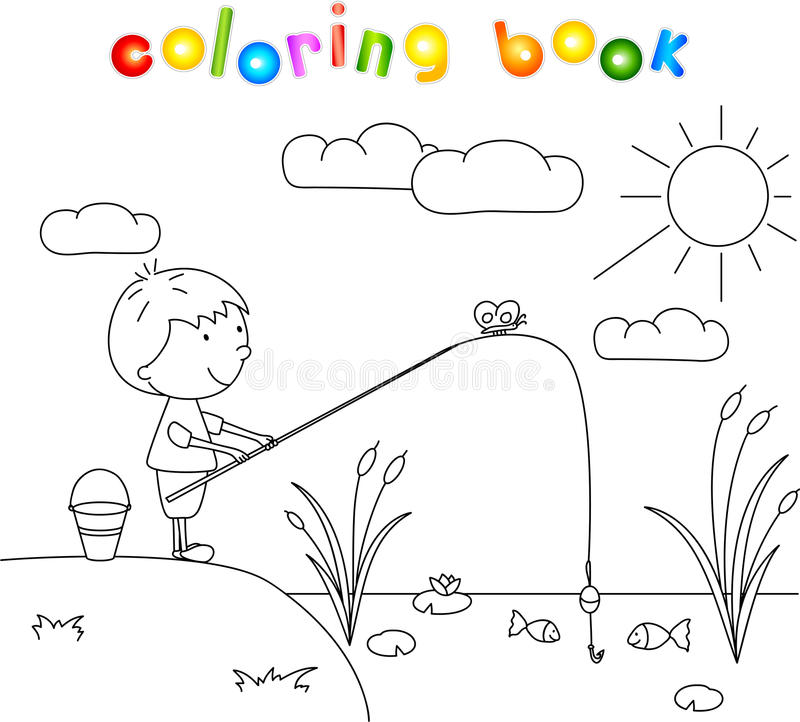 Download Boy Fisherman With Fishing Rod On The Lake Coloring Book Stock Vector