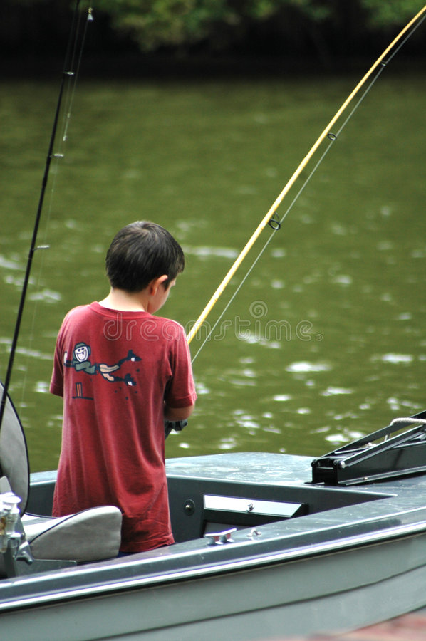 Download Boy Fishing stock image. Image of angle, gray, lake, play - 996679