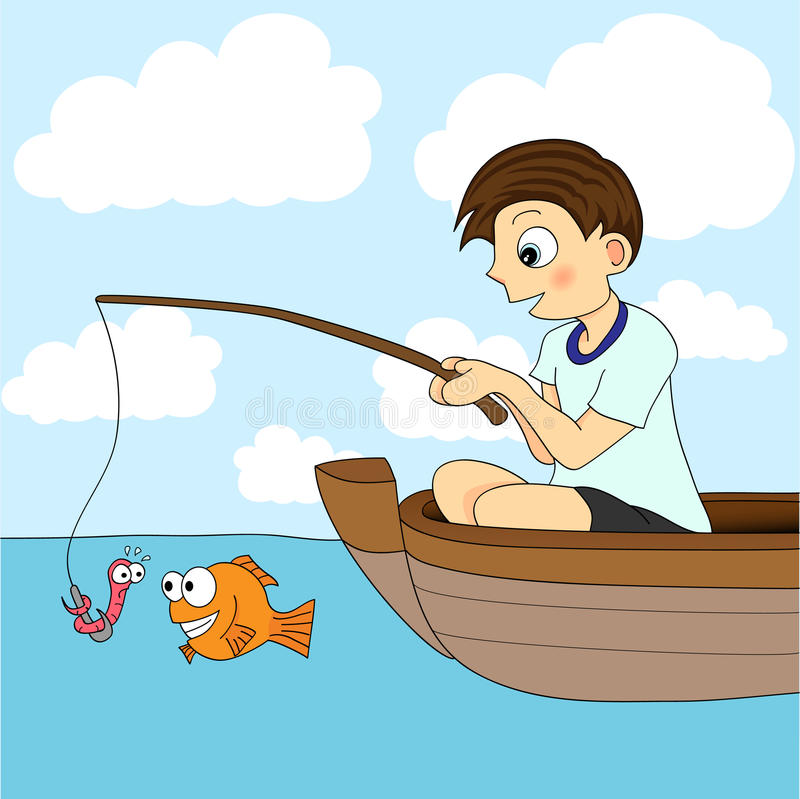 Boy Fishing In A Boat Royalty Free Stock Image