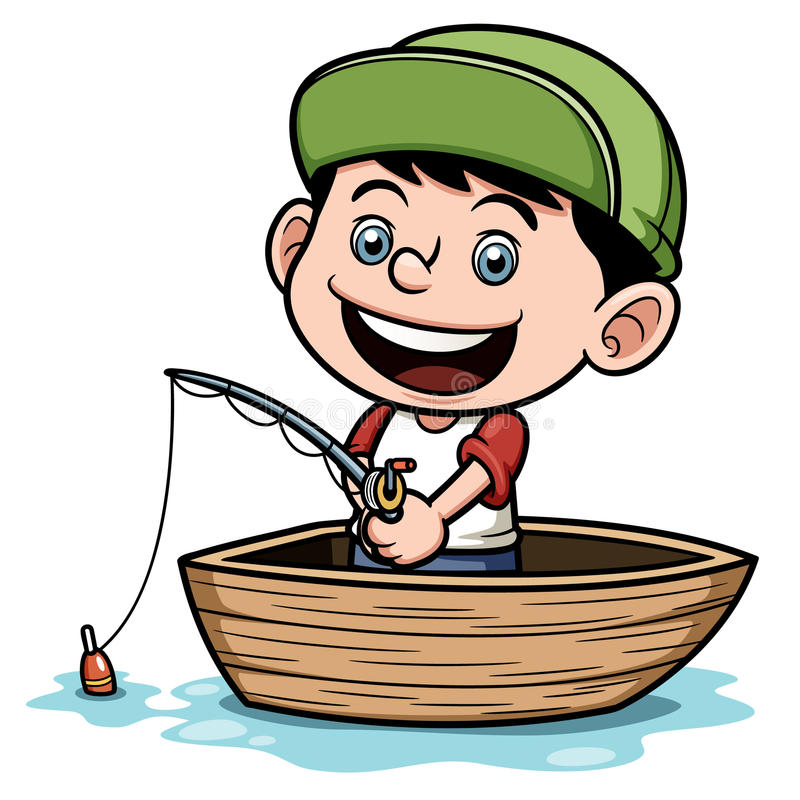 Boy fishing in a boat royalty free illustration