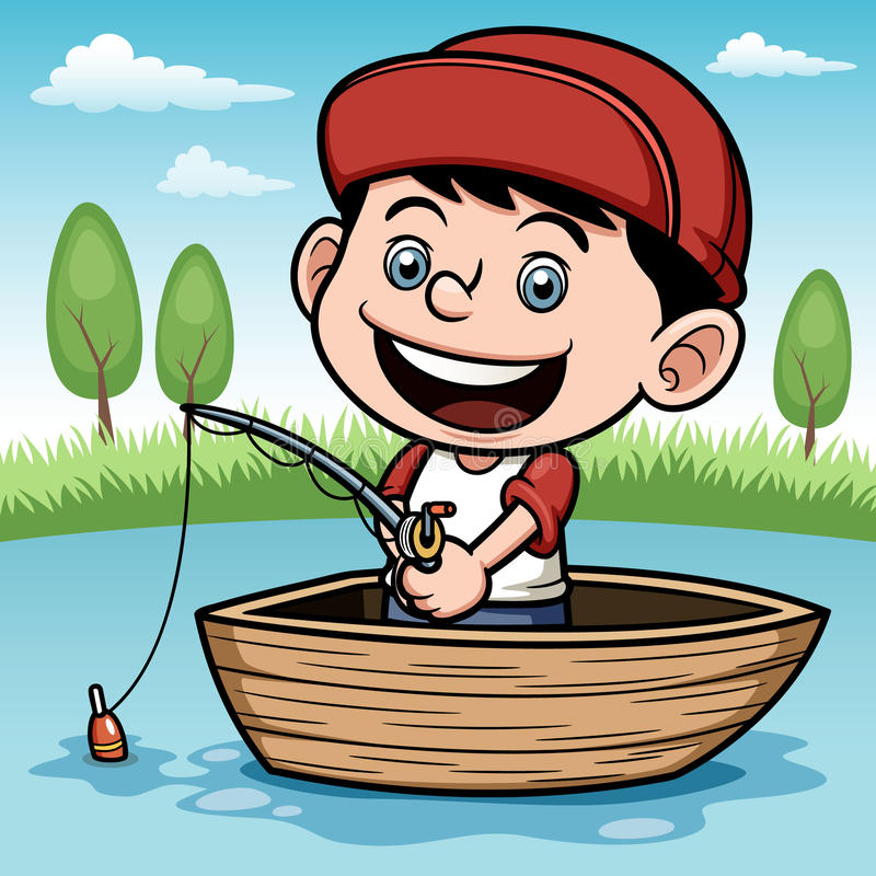 Boy fishing in a boat. Vector illustration of Boy fishing in a boat royalty free illustration