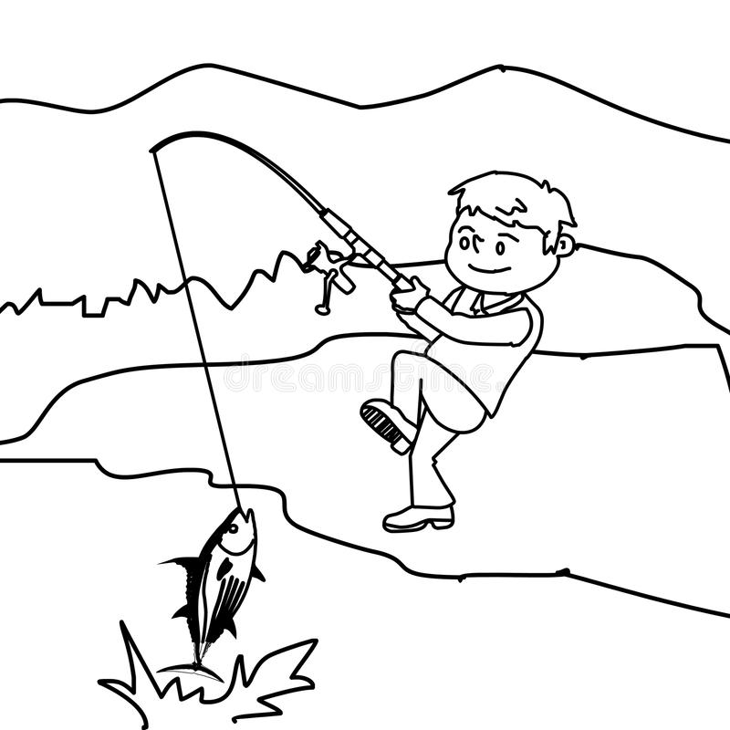 Boy Fishing Boy Fishing Coloring Pages