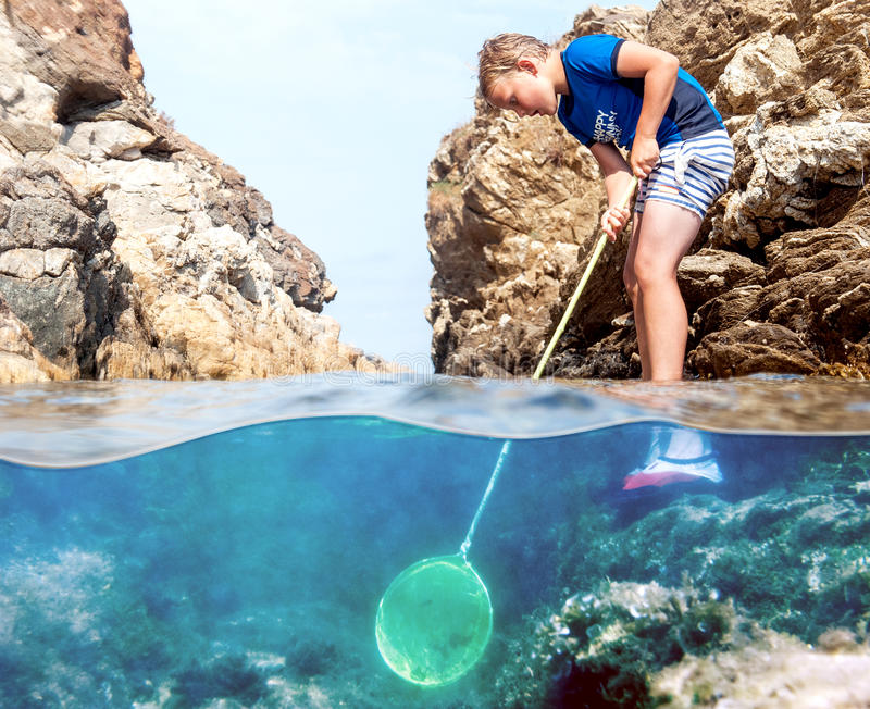 Boy with fishing net royalty free stock image