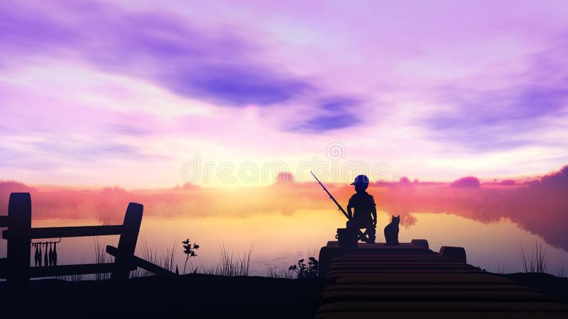 The boy is fishing in the river from a wooden pier at sunrise. Silhouette of a fishing boy on a wooden pier at sunrise royalty free stock photos