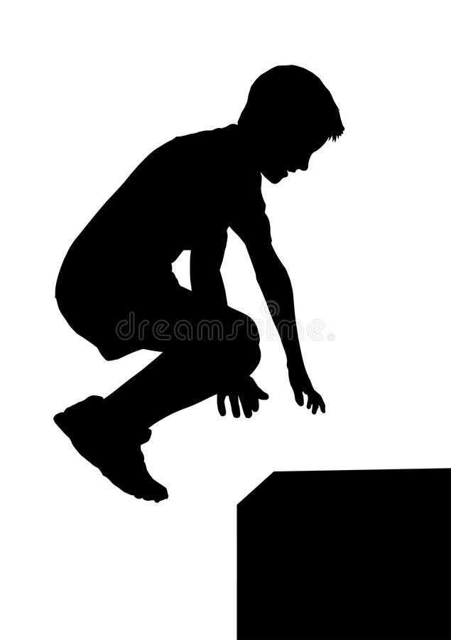 Boy Fitness Exerciser Jumping Silhouette stock photos