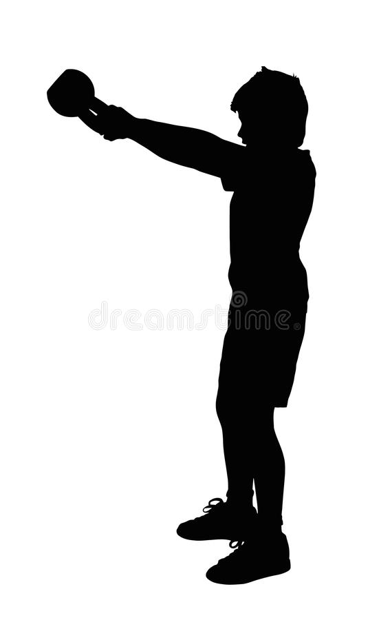 Boy Fitness Exerciser Silhouette. Boy Fitness Exerciser Swinging a Kettlebell Silhouette royalty free illustration
