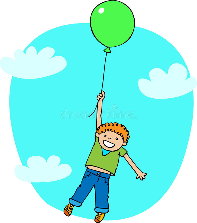 Download The boy flies on a ballon stock vector. Image of family - 27531665