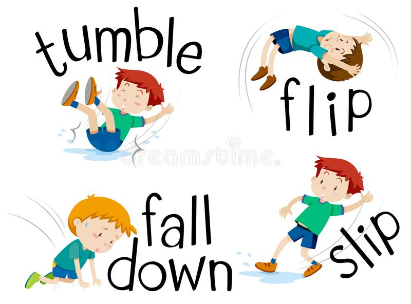 Boy flipping and falling down vector illustration