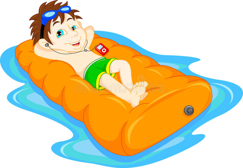 The boy floating on inflatable, summer vacation fun. Vector illustration of The boy floating on inflatable, summer vacation fun royalty free illustration