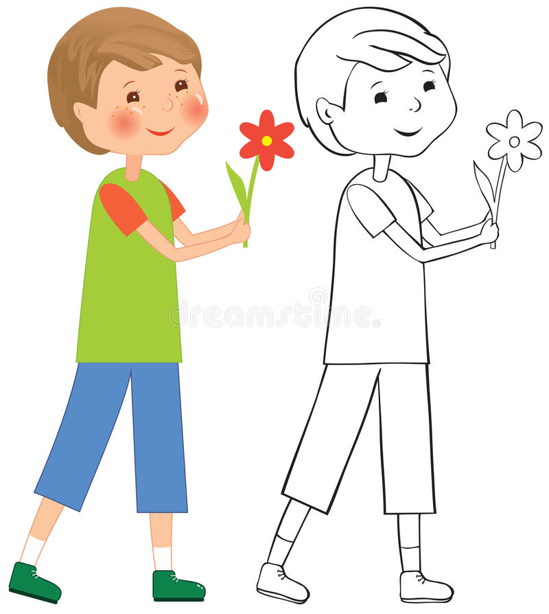 Download Boy with flower stock vector. Image of cartoon, contour - 28272634