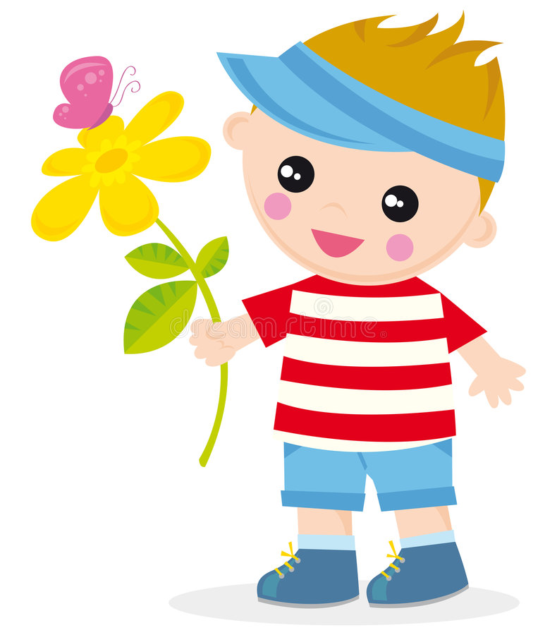Boy with flower. Illustration of boy with flower and butterfly