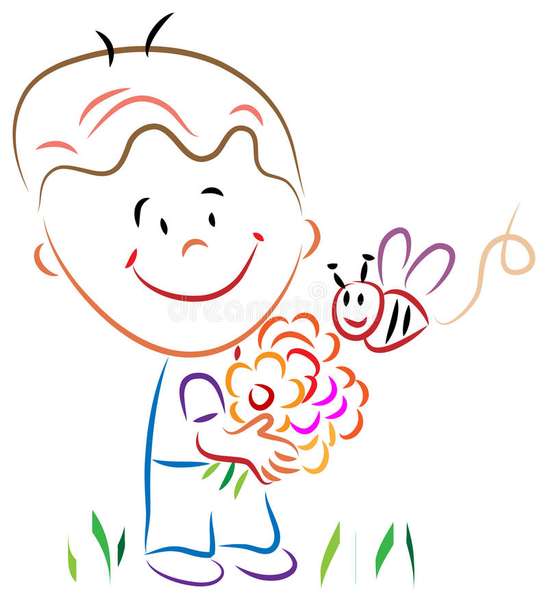 Boy with flowers and honey bee royalty free illustration