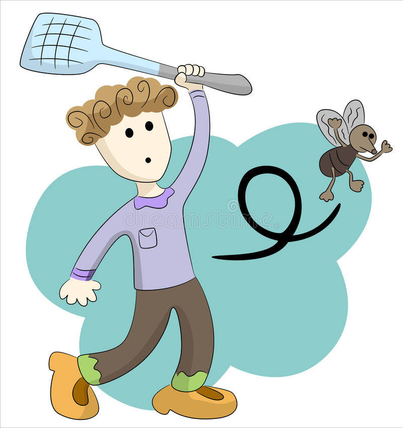 Boy and fly. Abstract boy trying to hit a fly with a fly swatter stock illustration