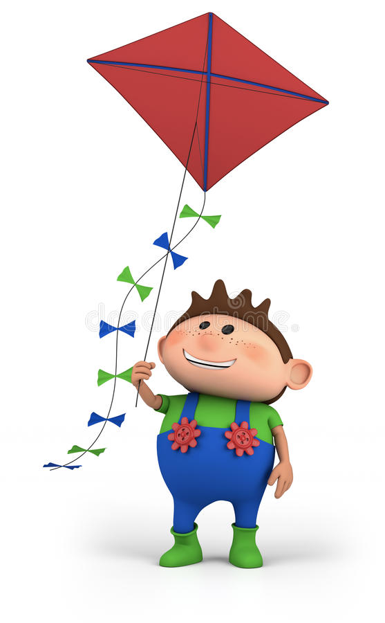 Boy flying a kite stock illustration