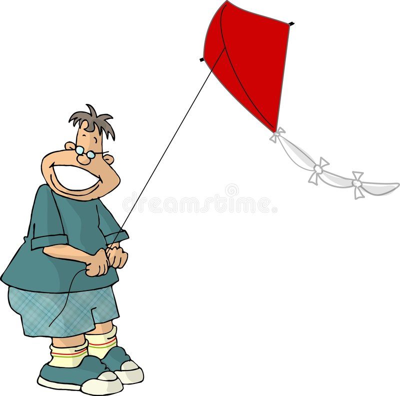 Boy flying a kite royalty free illustration