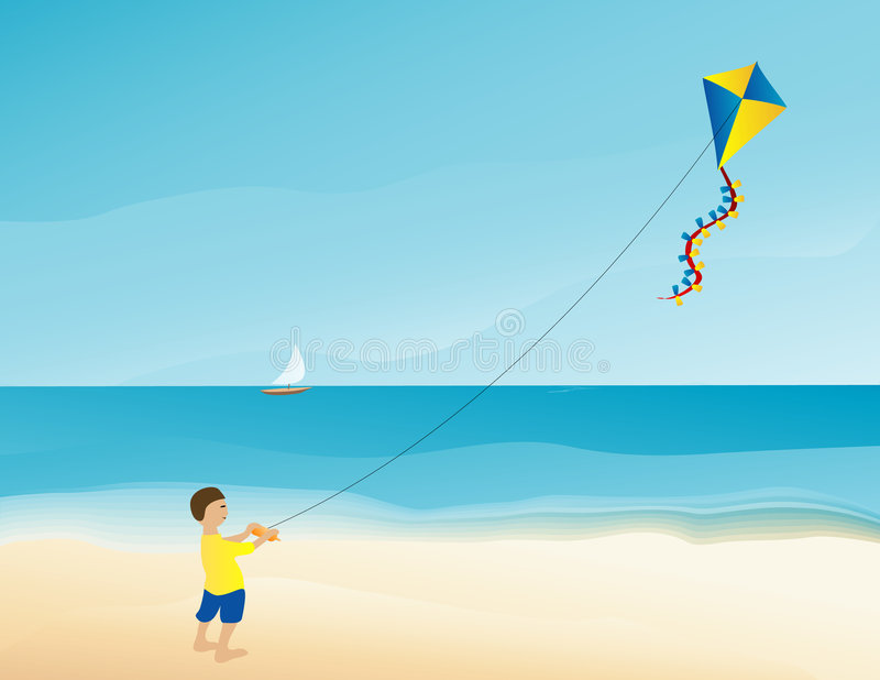 Boy flying kite on the beach vector illustration