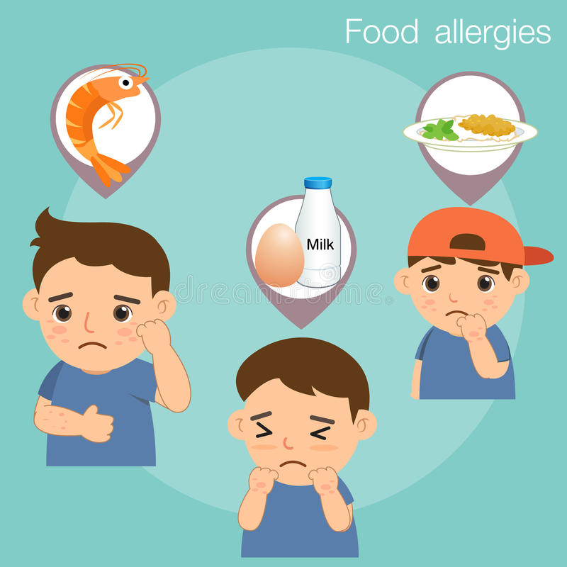 Boy with food allergies. Seafood and protein vector illustration